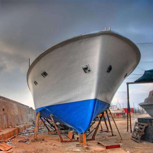 a resting boat in Jaffa port Art Print
