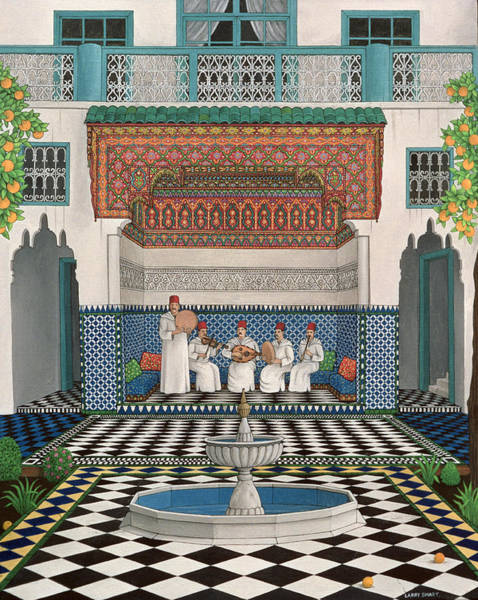 Villa Photograph - A Riad In Marrakech, 1992 Acrylic On Canvas by Larry Smart