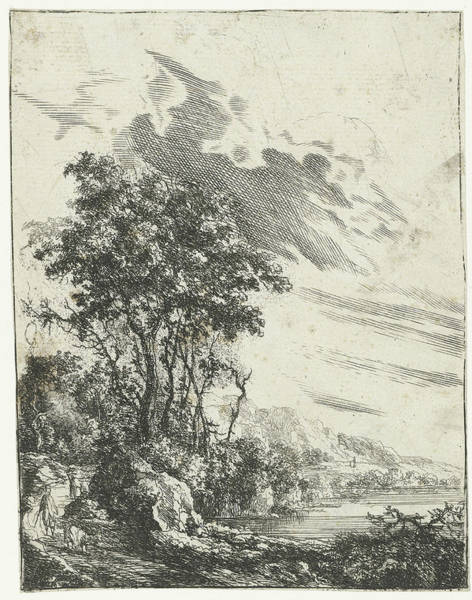Wall Art - Drawing - A River Landscape With A Man And A Goat, Gilles Neyts by Gilles Neyts