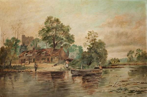 Riverbank Painting - A River Scene by Thomas Grimshaw