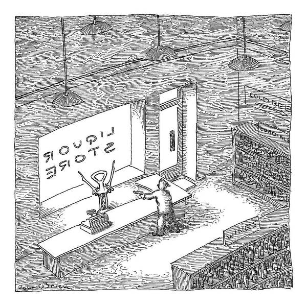 Stores Drawing - A Robber Holds Up A Liquor Store. The Clerk by John O'Brien