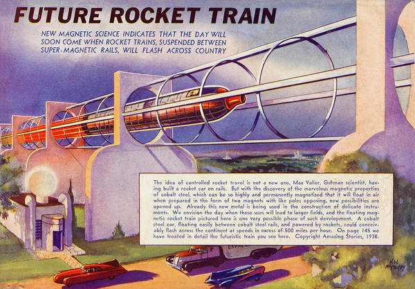 Rockets Drawing - A Rocket-powered  Train Predicted by Mary Evans Picture Library