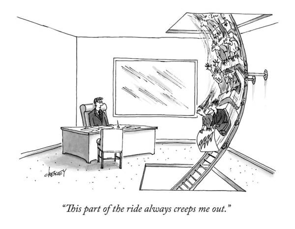 Drawing - A Rollercoaster Passes Through A Ceo's Office by Tom Cheney