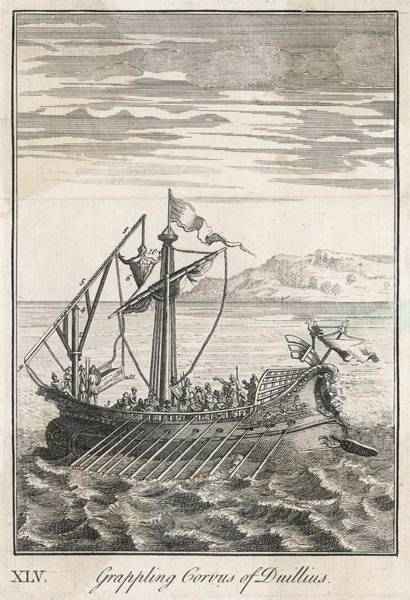 Wall Art - Drawing - A Roman Bireme, Fitted With A  'corvus' by Mary Evans Picture Library