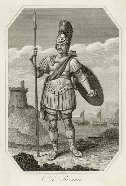 Roman Soldier Drawing - A Roman Soldier Ready For  Action - by Mary Evans Picture Library