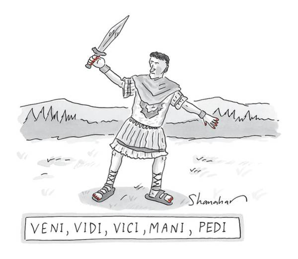 Ancient Drawing - A Roman Soldier With Painted Red Toenails by Danny Shanahan
