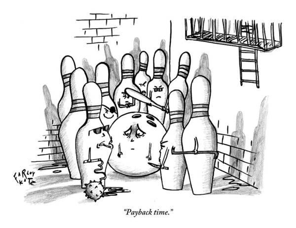 Bowling Ball Wall Art - Drawing - A Rough Gang Of Ten Bowling Pins Holding Weapons by Farley Katz