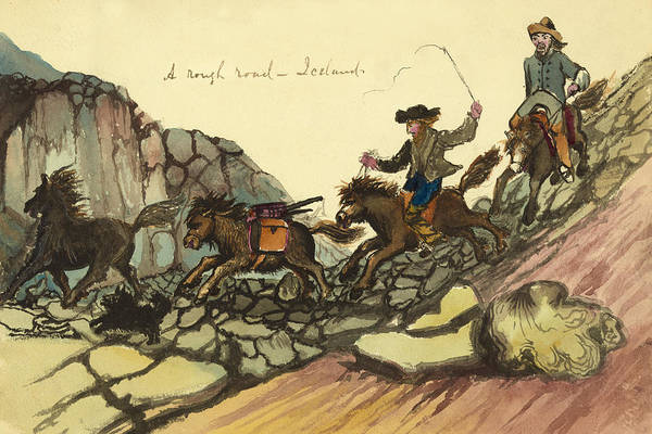 Settlers Painting - A Rough Road In Iceland Circa 1862 by Aged Pixel