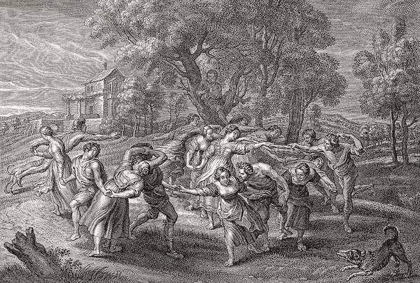 Folk Dances Photograph - A Round Dance, After An Engraving From The Painting By Peter Paul Rubens.  From Illustrierte by Bridgeman Images