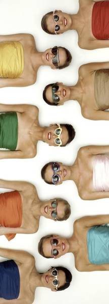 Wall Art - Photograph - A Row Of Models In Strapless Tops And Sunglasses by Richard Rutledge
