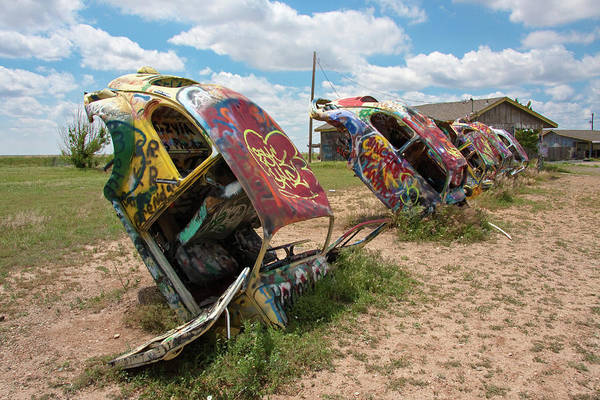 Texas A Photograph - A Row Of Vw Beetles Is Buried Nose Deep by Mike Copeland