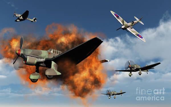 Junkers Digital Art - A Royal Air Force Supermarine Spitfire by Mark Stevenson