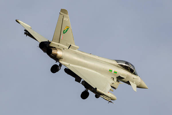 Flying The Flag Wall Art - Photograph - A Royal Air Force Typhoon During A Red by Rob Edgcumbe
