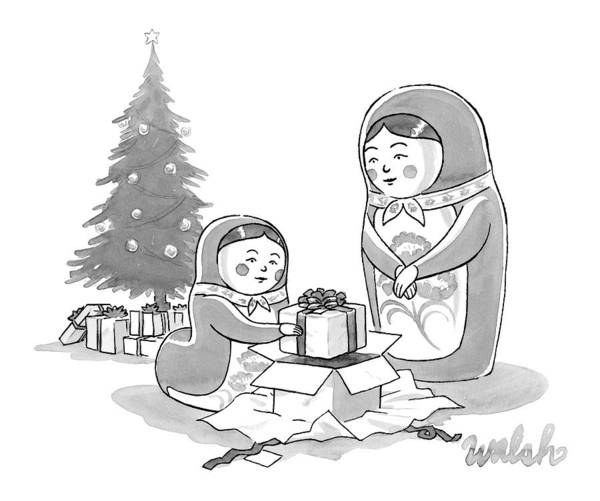Christmas Drawing - A Russian Doll Mother And Daughter Open Christmas by Liam Walsh