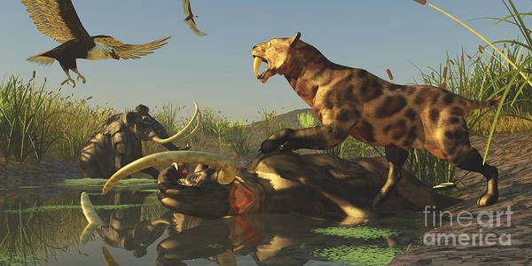Smilodon Wall Art - Digital Art - A Saber Tooth Cat Attacks A Woolly by Corey Ford