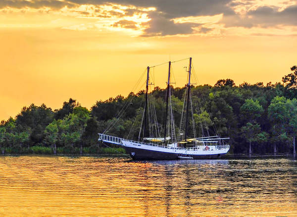 Wall Art - Photograph - A Schooner In The Sunset by Terry Shoemaker