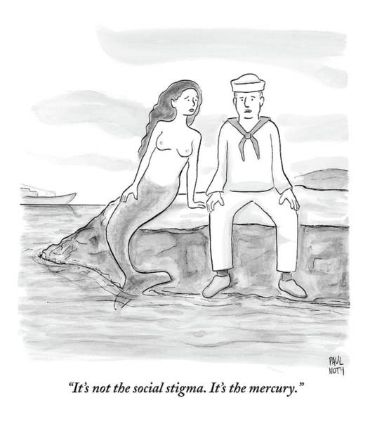 Breakup Drawing - A Sailor Breaks Up With His Naked Mermaid by Paul Noth