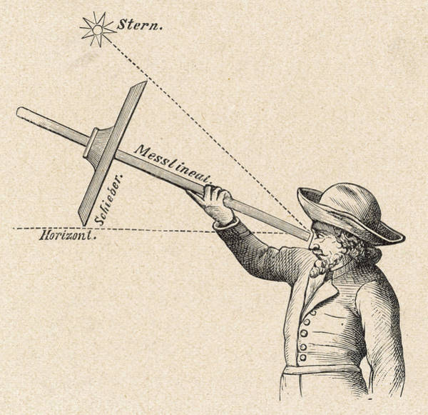 Angle Drawing - A Sailor Uses A 'jacob's  Staff' by Mary Evans Picture Library