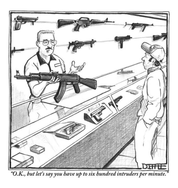 Rifle Drawing - A Sales Clerk Shows Off An Automatic Weapon by Matthew Diffee