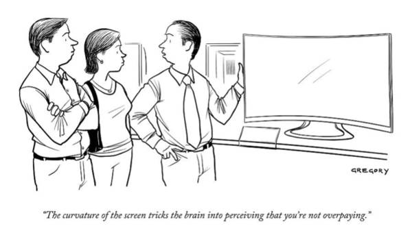 Trick Drawing - A Salesman Shows A Couple A Large Television by Alex Gregory