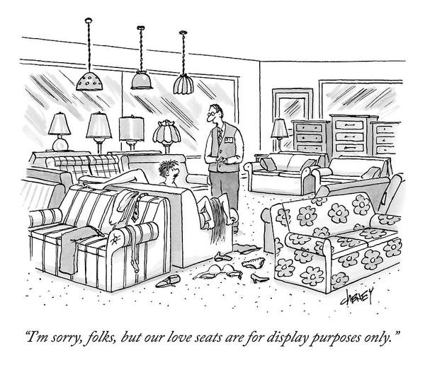 Furniture Drawing - A Salesperson In A Furniture Store Addresses Two by Tom Cheney