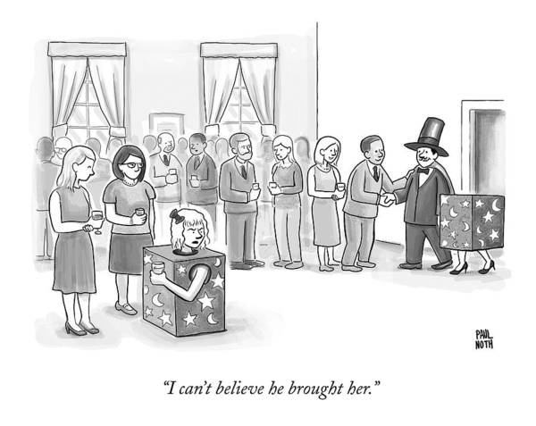Divorce Drawing - A Sawed-in-half Magician's Assistant Scowls by Paul Noth