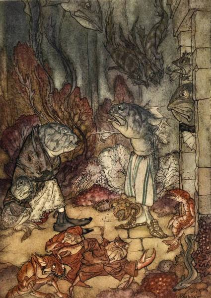 Pitchers Drawing - A Scaly Set Of Rascals, Illustration by Arthur Rackham