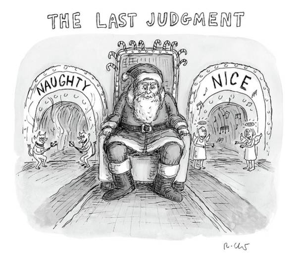 Santa Drawing - A Scary And Mean-looking Santa Sits In A Chair by Roz Chast