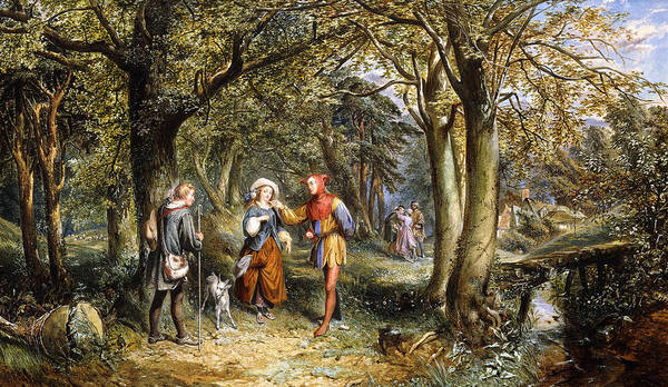 Groups Of People Painting - A Scene From As You Like It Rosalind Celia And Jacques In The Forest Of Arden by John Edmund Buckley
