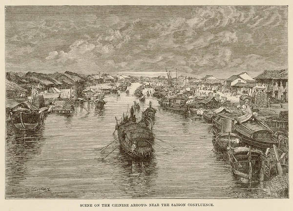 Vietnam Drawing - A Scene With Boats On The Arroyo by Mary Evans Picture Library