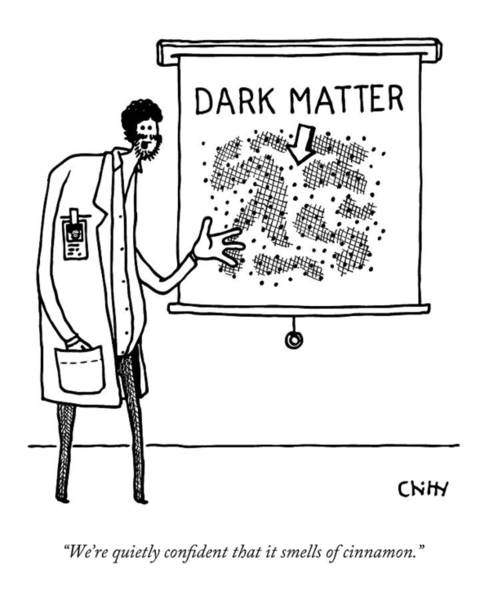 Scientist Drawing - A Scientist Refers To A Diagram Of Dark Matter by Tom Chitty