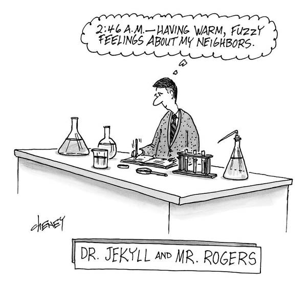 Drawing - A Scientist Who Looks Like Mr. Rogers Is Writing by Tom Cheney