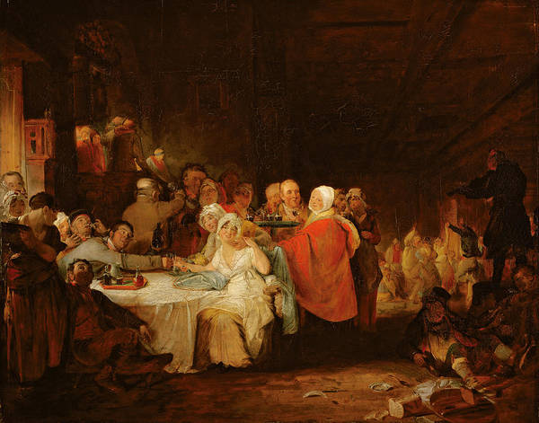 Drunk Photograph - A Scotch Wedding, 1811 Panel by William Home Lizars