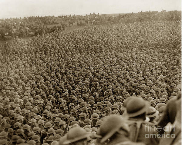 Photograph - A Sea Of Helmets World War One Circa 1918 by California Views Archives Mr Pat Hathaway Archives