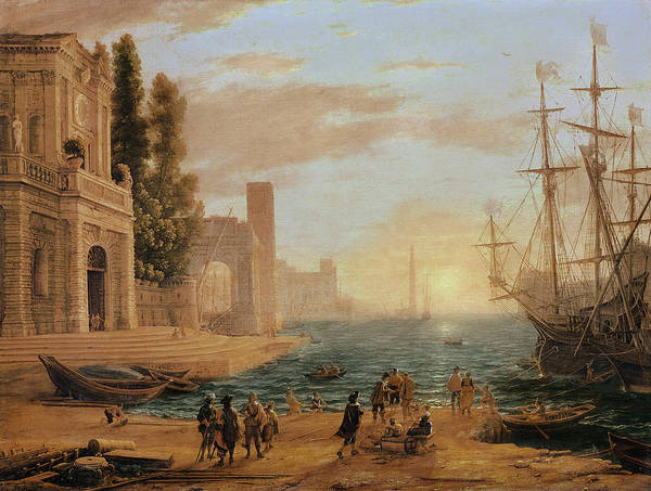 Palace Pier Wall Art - Painting - A Seaport, 1639 by Claude Lorrain