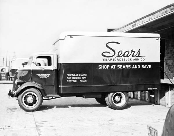 Compartments Photograph - A Sears Roebuck Delivery Truck by Underwood Archives
