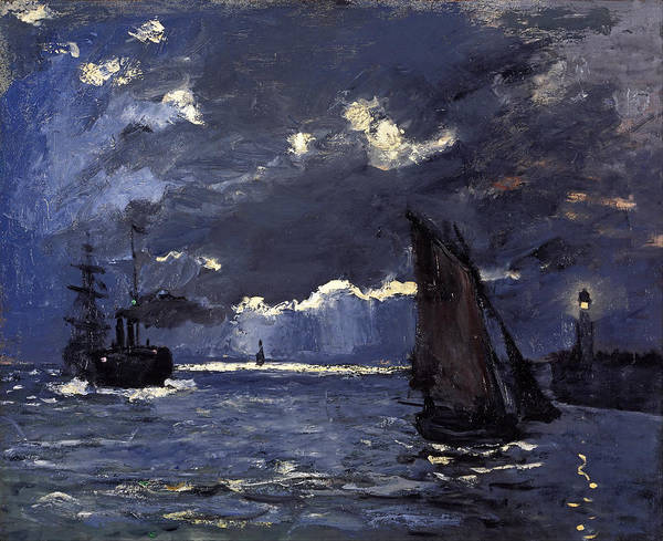 Impressionistic Sailboats Painting - A Seascape Shipping By Moonlight by Claude Monet