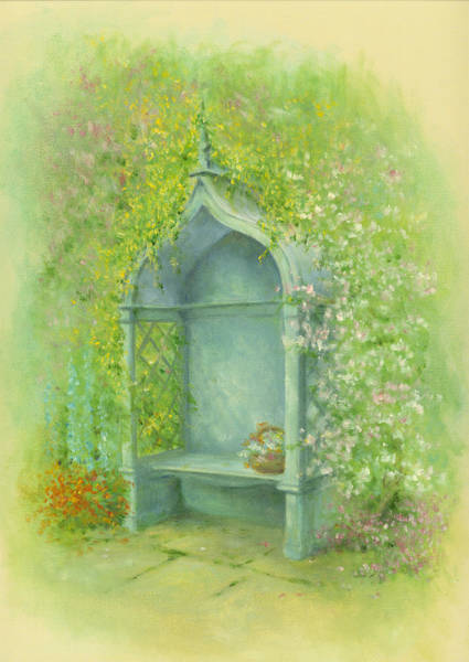 English Garden Photograph - A Seat In The Garden by MGL Meiklejohn Graphics Licensing