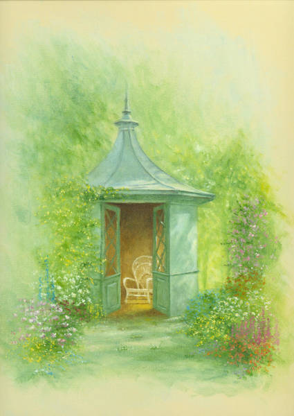 English Garden Photograph - A Seat In The Summerhouse by MGL Meiklejohn Graphics Licensing