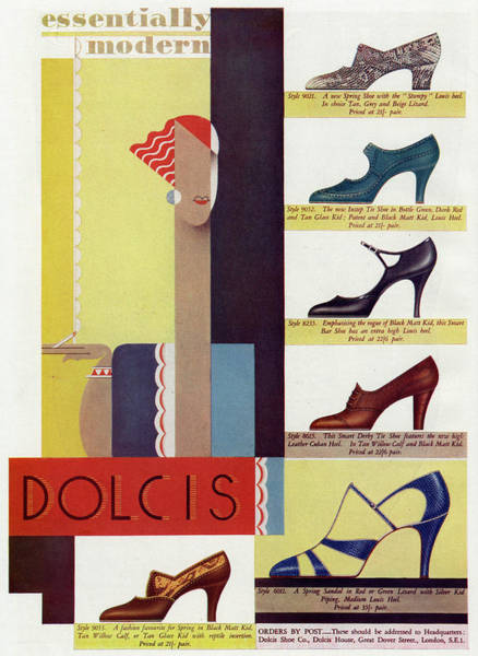 High Heels Drawing - A Selection Of Fashionable High Heeled by Mary Evans Picture Library