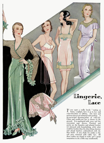 Wall Art - Drawing - A Selection Of Lingerie, With Lace by Mary Evans Picture Library