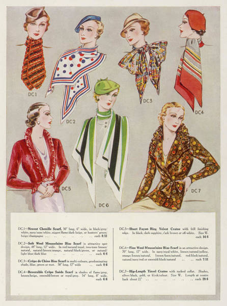 Scarf Drawing - A Selection Of Scarves Including Bias by Mary Evans Picture Library