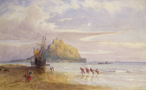 Wall Art - Painting - A September Evening, St Michaels Mount, Cornwall by John Mogford