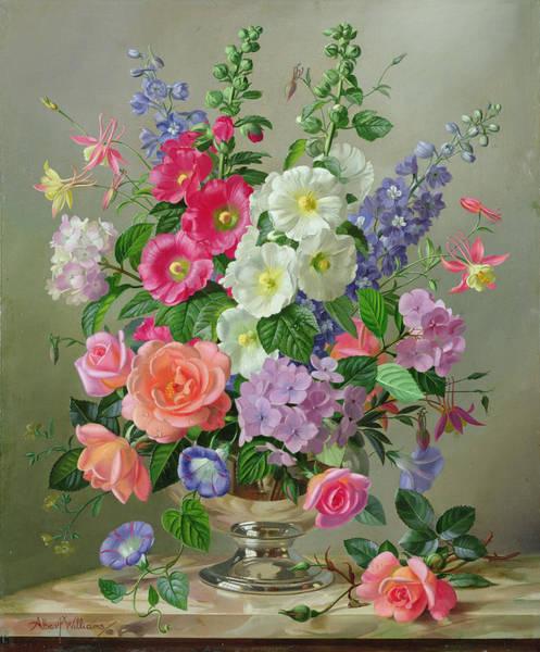 Wall Art - Painting - A September Floral Arrangement by Albert Williams
