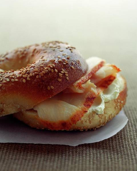 Copy Photograph - A Sesame Bagel by Romulo Yanes
