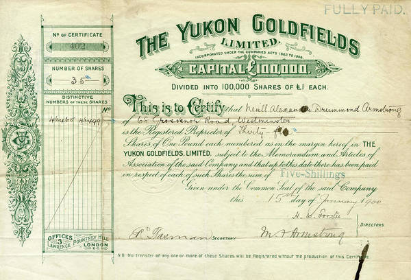 Deposit Drawing - A Share Certificate For The Yukon by Mary Evans Picture Library
