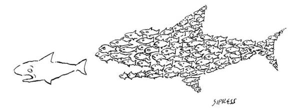 Sharks Drawing - A Shark Is Chased By A School Of Fish That by David Sipress