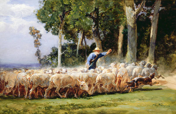 Herding Dog Wall Art - Painting - A Shepherd With A Flock Of Sheep by Charles Emile Jacques