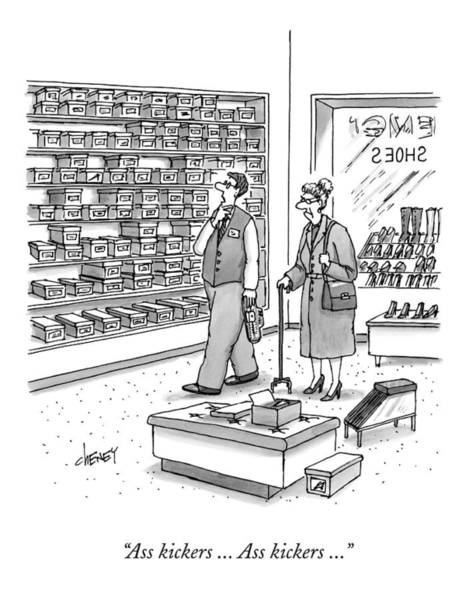 Drawing - A Shoe Salesman Browses The Selection Of Shoes by Tom Cheney