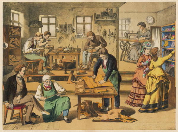 Wall Art - Drawing - A Shoemaker And Shoe  Repairer's Shop by Mary Evans Picture Library